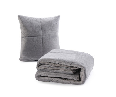 斯诺曼(snowman)床品家纺 抱枕被子 两用靠垫 办公室沙发汽车靠枕 床头靠背护腰靠垫腰枕垫 烟灰色 110*140cm