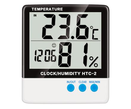 雨花泽Yuhuaze 带时钟型电子温湿度计HTC-2带室外温度计探头
